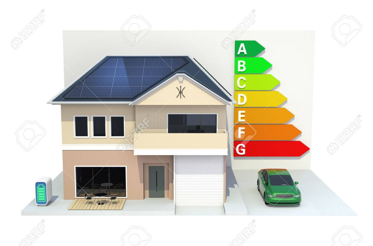 Smart House With Solar Panel Systemenergy Efficient Chartclipping Car Path Stock Photo