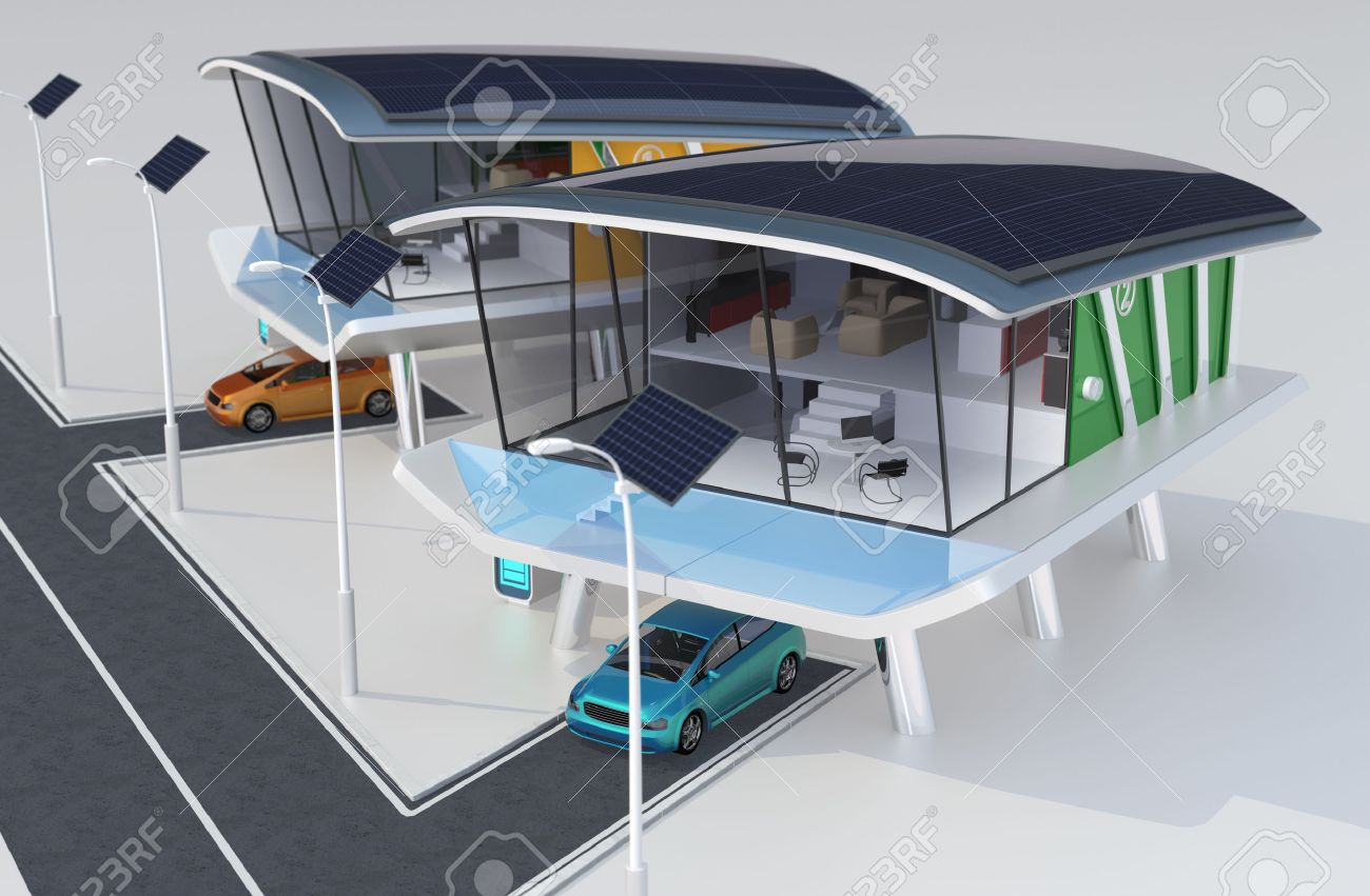 Stylish Futuristic Design House With Solar Panel, Home Battery ...