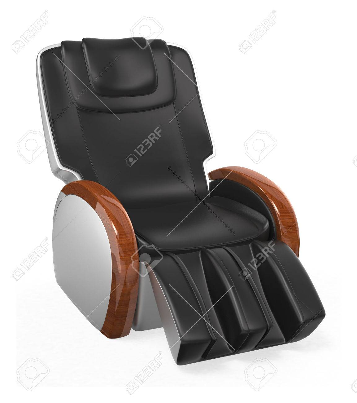 Black comfortable leather reclining massage chair with wood armrest, clipping path included  original design Stock Photo - 23476470