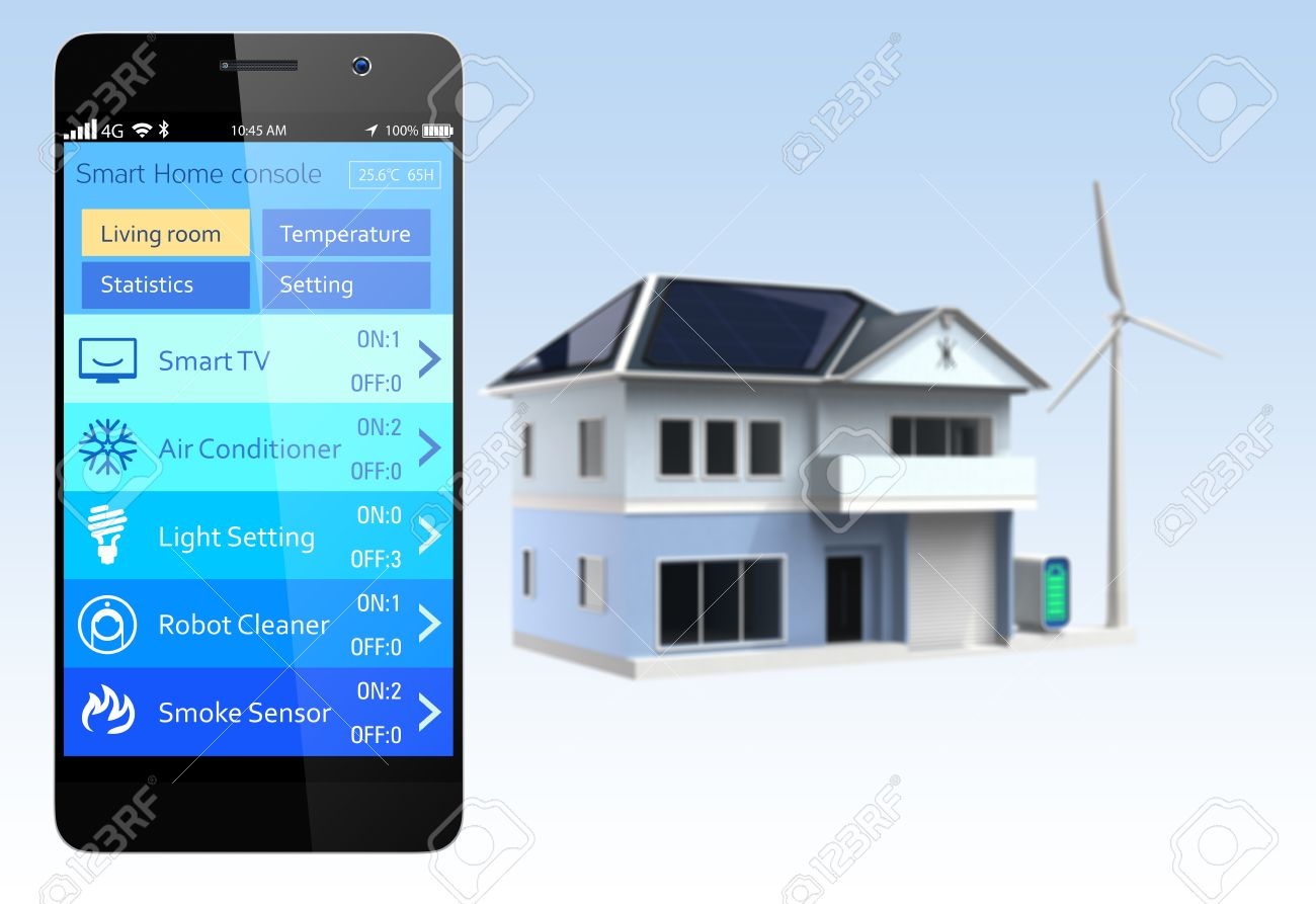 Smartphone Home Automation smartphone with home automation app stock photo, picture and