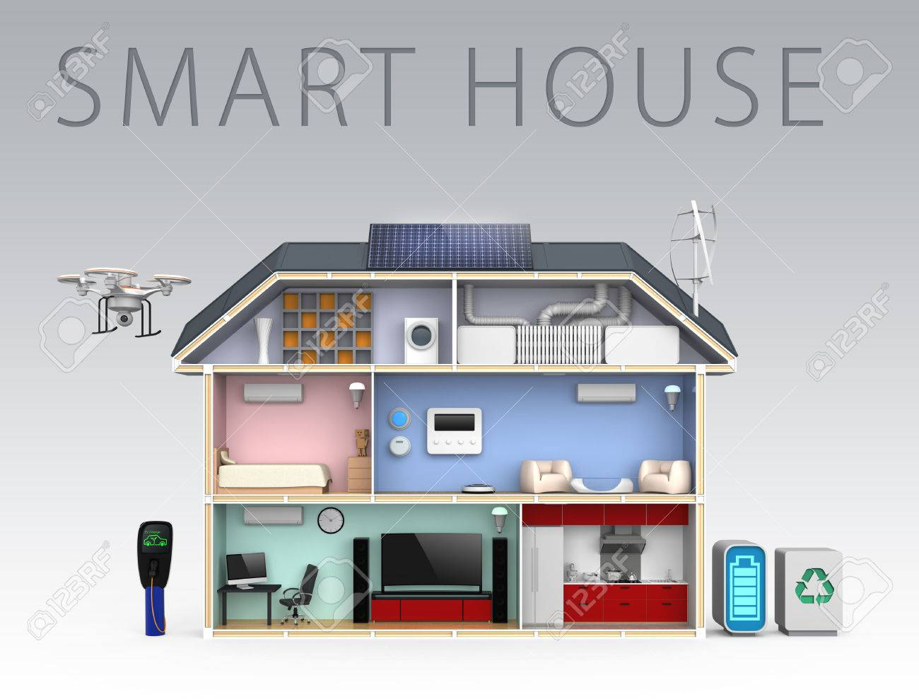 Smart House smart house with energy efficient appliances with text stock photo
