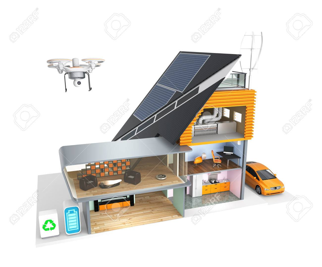 Smart House With Energy Efficient Appliances And Solar Panel ...