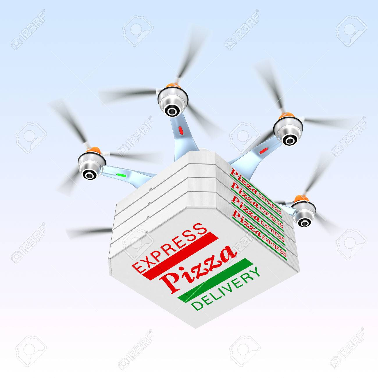 Drone Carrying Pizza For Fast Food Delivery Concept Stock Photo