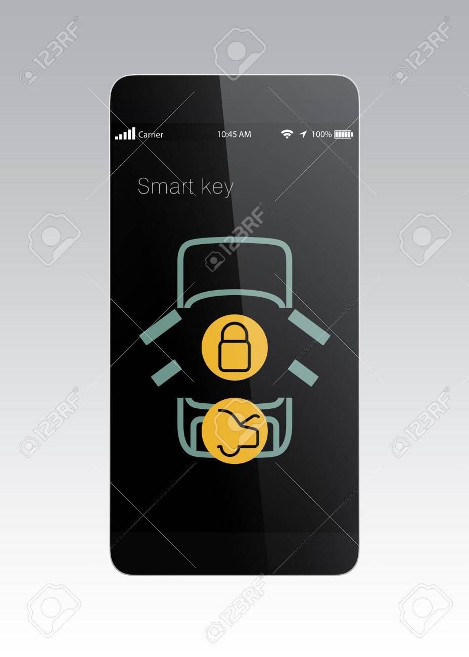 Incroyable Smart Phone App For Lock And Unlock Car Door. Door Unlocked. Stock Photo