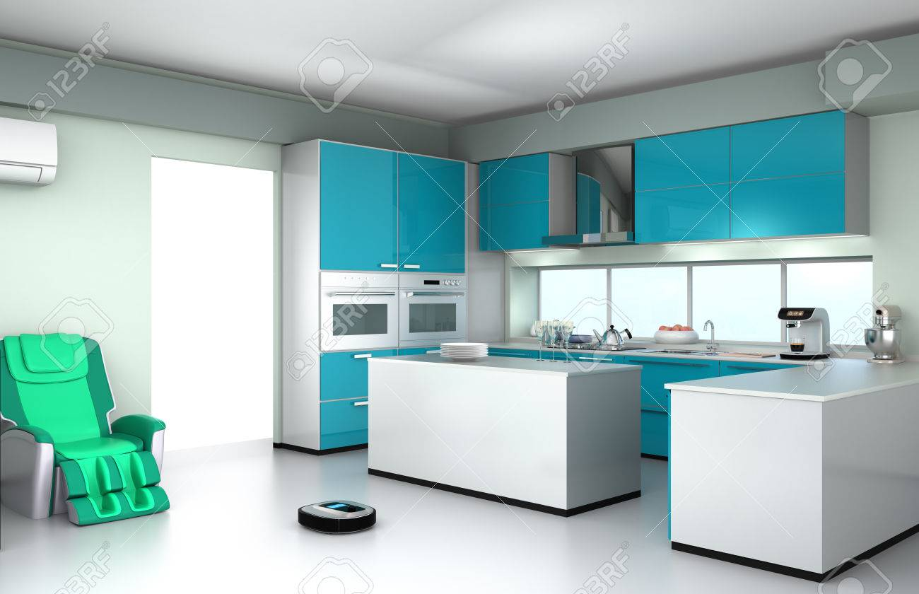 robotic vacuum cleaner in modern kitchen interior stock photo