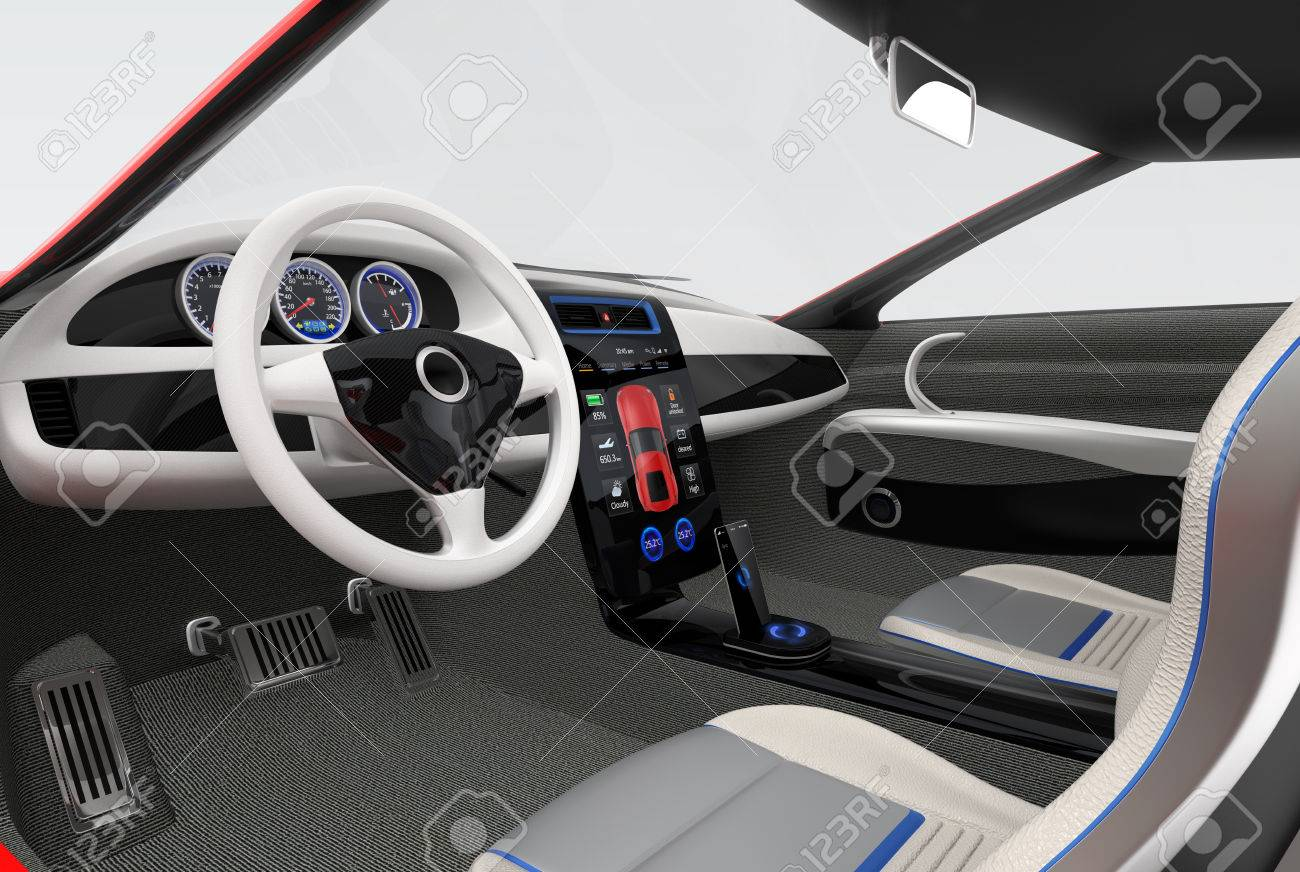 Futuristic Electric Vehicle Dashboard And Interior Design 3d