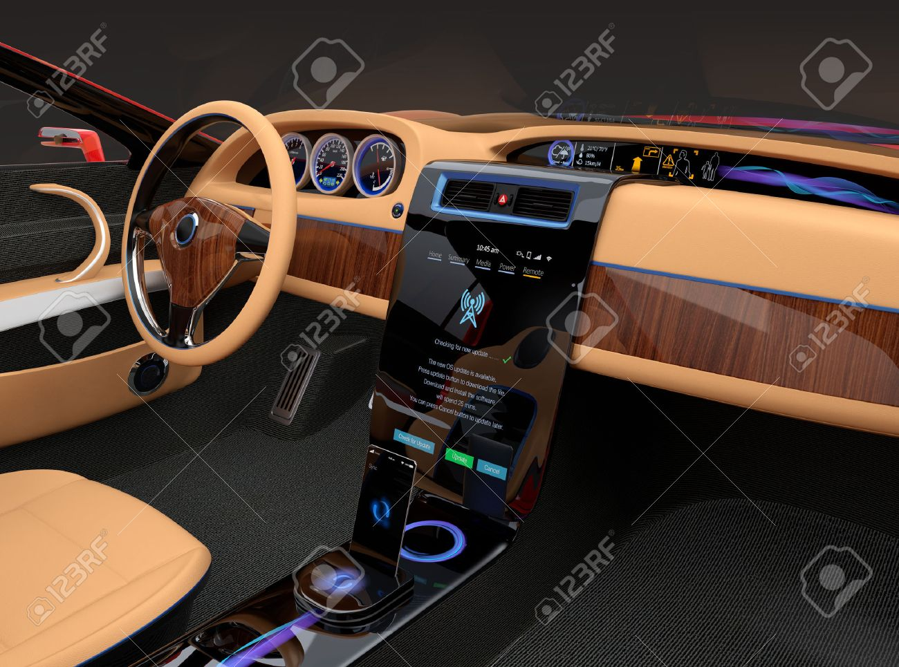 Stock Photo   Stylish Electric Car Interior With Luxury Wood Pattern  Decoration. User Using Touch Screen To Do Some Setup Work. Original Design.