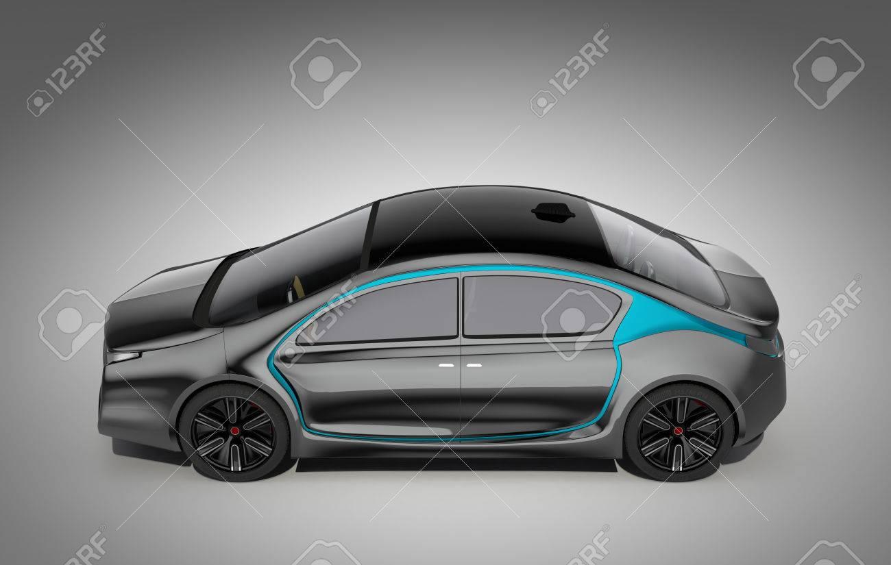 Buitenkant van autonome elektrische auto geïsoleerd op een grijze