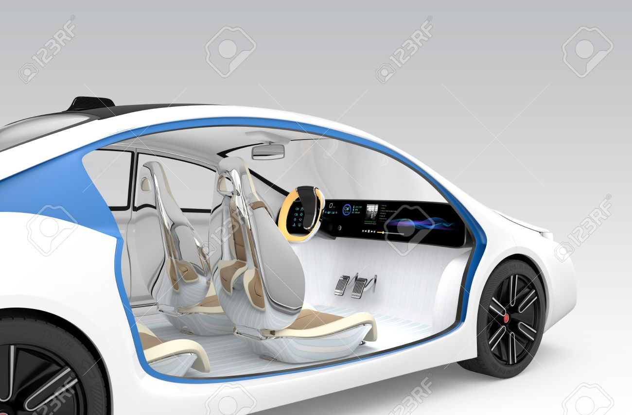 Autonomous car's interior concept. The car offer folding steering wheel, rotatable passenger seat. Original design. Clipping path available. - 52704825