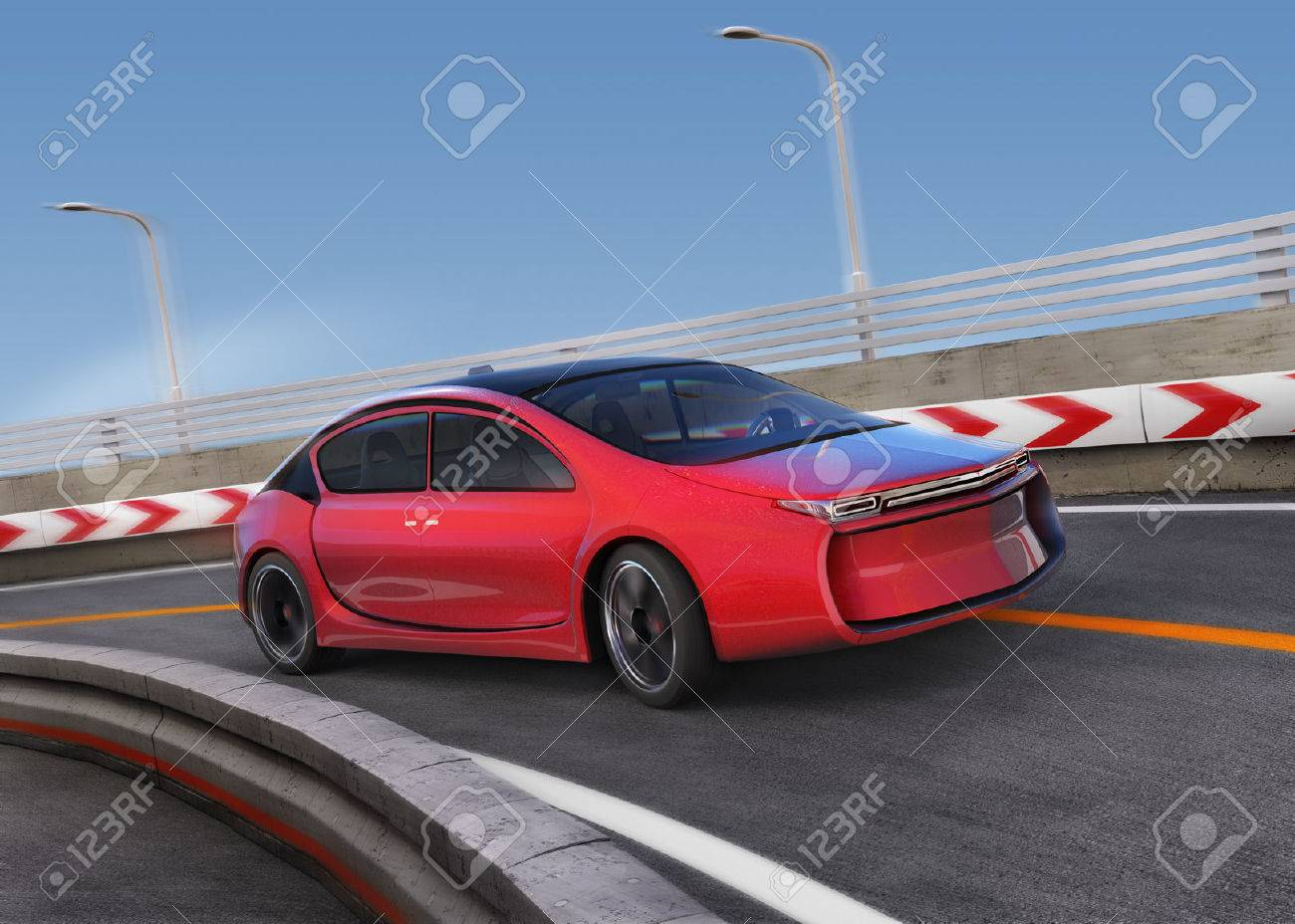 Red electric car on highway with motion blur background. 3D rendering image. - 52877465