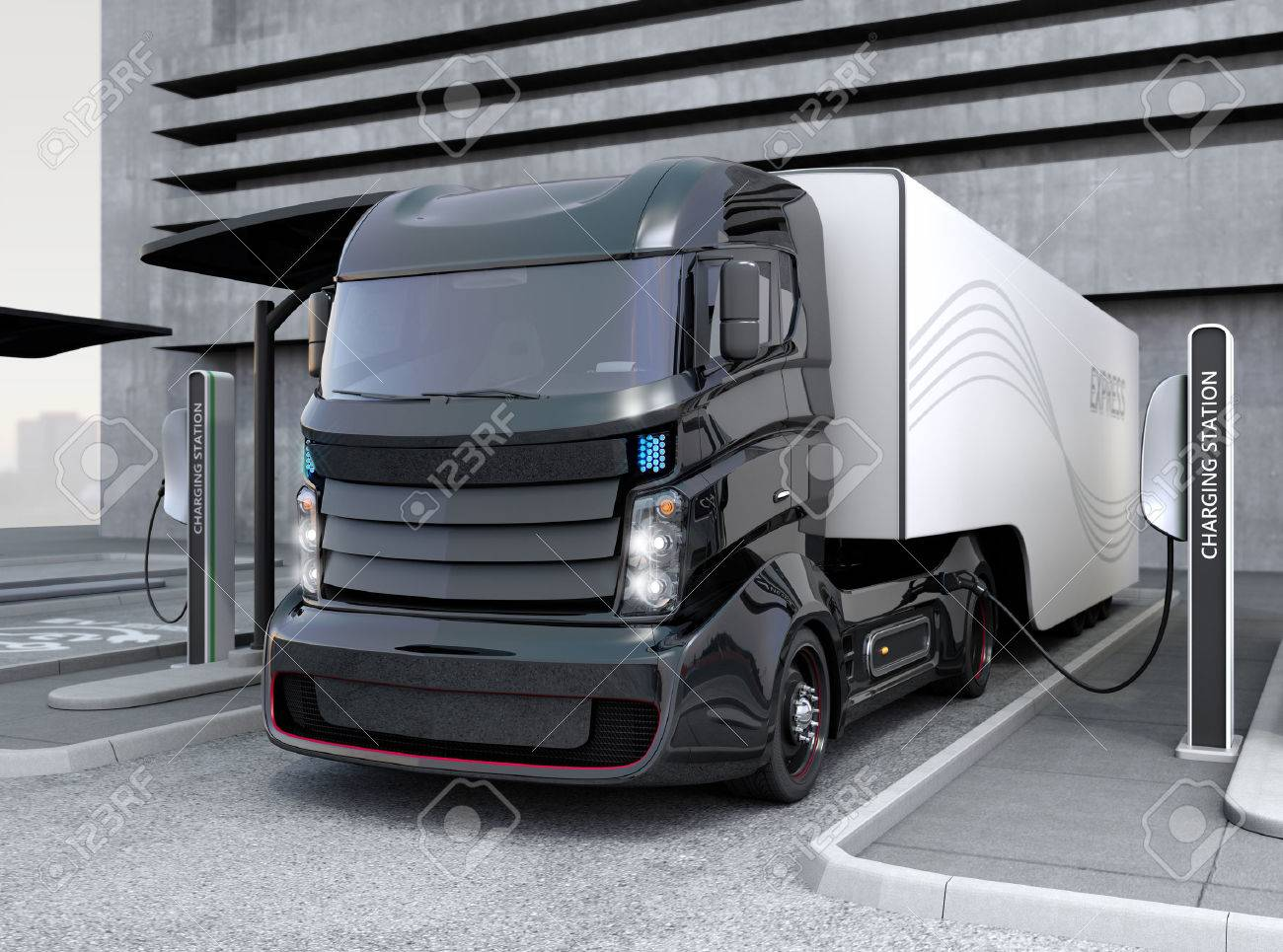 Hybrid electric truck being charging at charging station - 55050853