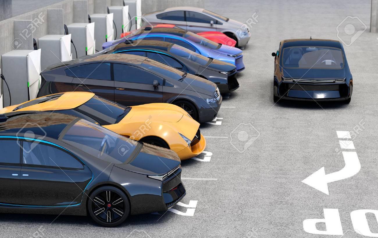 Blau Elektro-Auto Für Ladepunkt Auf Dem Parkplatz Suchen. 3D ...