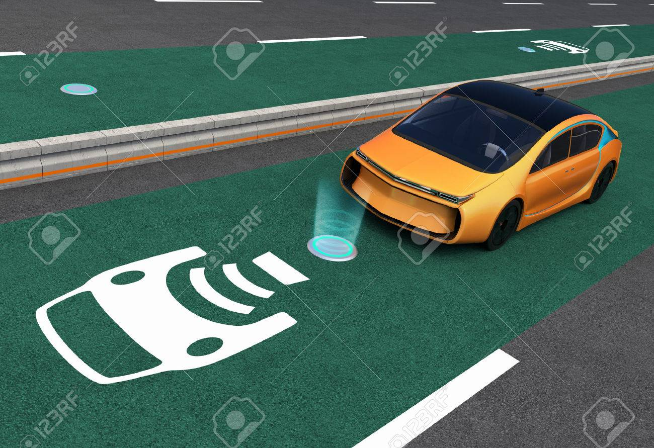 Yellow electric car on EV wireless charging lane  The in-road