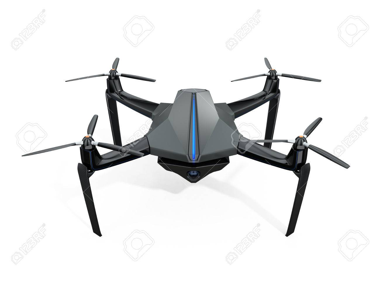 Front View Of Surveillance Drone Isolated On White Background 3D Rendering Image Stock Photo