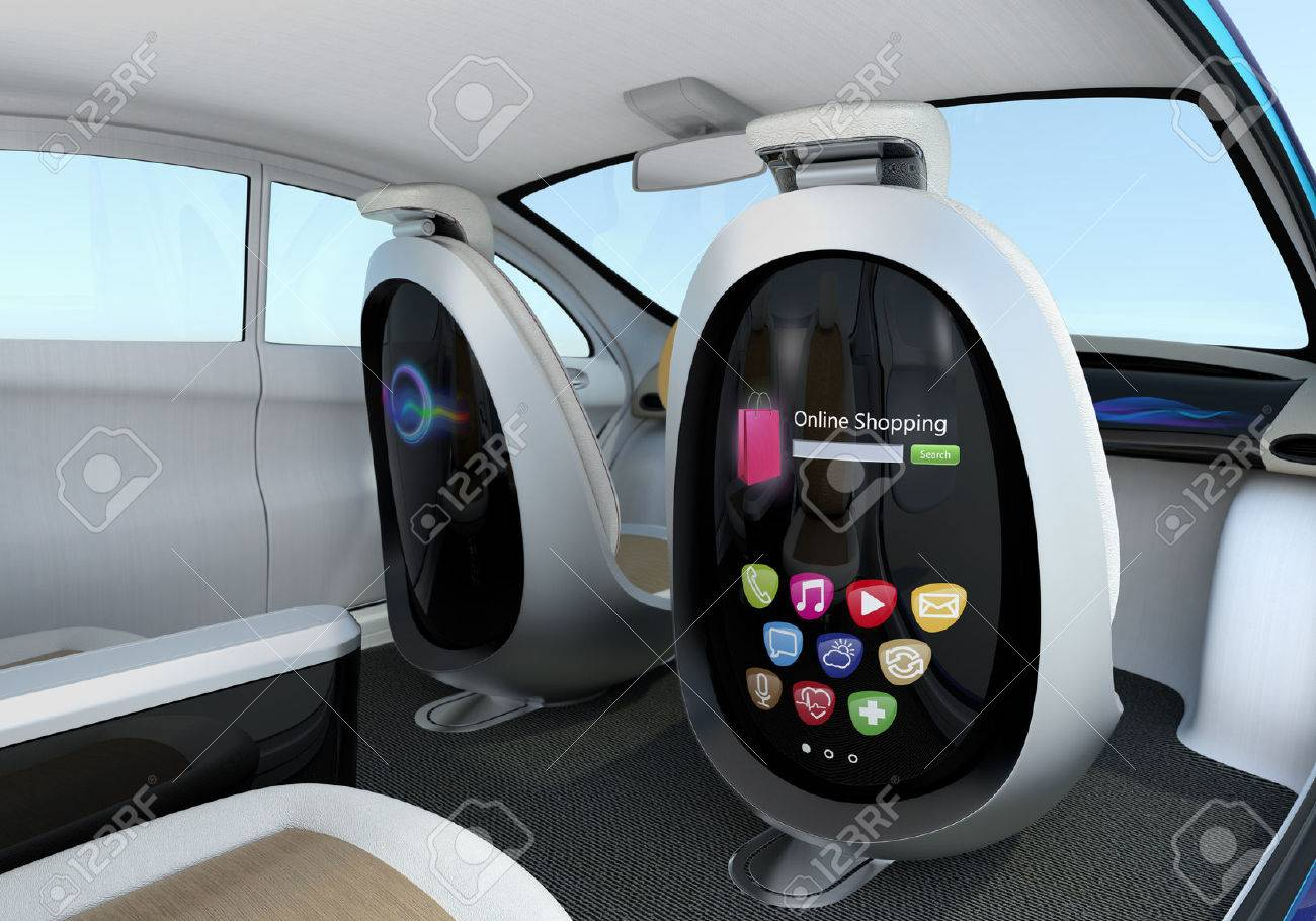 Wonderful Autonomous Car Interior Concept. Front Seats Equipped With Monitors Help  Passengers Enjoying Internet While They