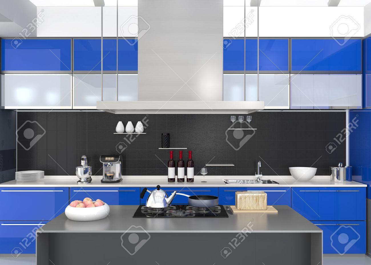 Moderne keuken interieur met slimme apparaten in blauwe kleur