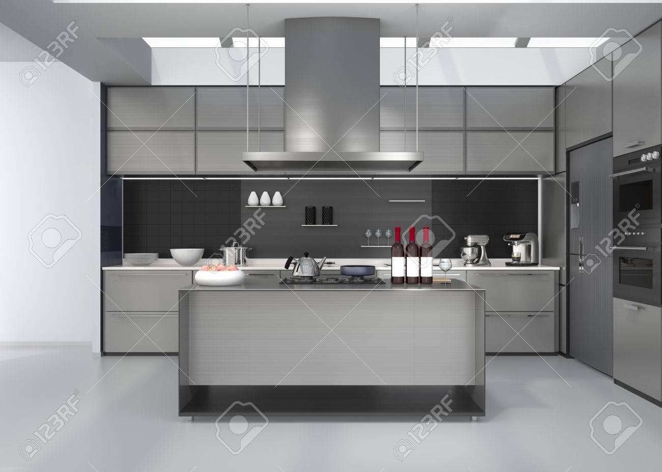 Moderne keuken interieur met slimme apparaten in zilveren kleur