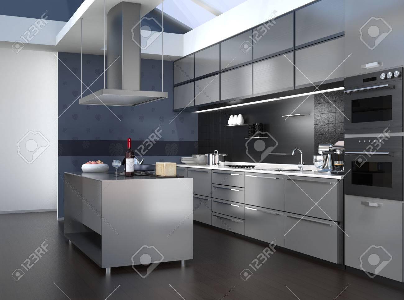 La Cocina Moderna | Interior De La Cocina Moderna Con Electrodomesticos Inteligentes