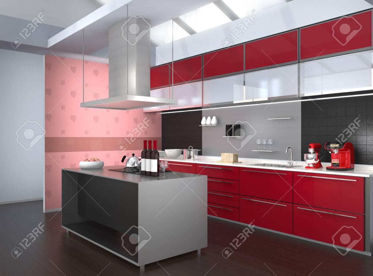interior cucina moderna con carta da parati rosa, monstera. 3d ... - Carta Da Parati Cucina Moderna