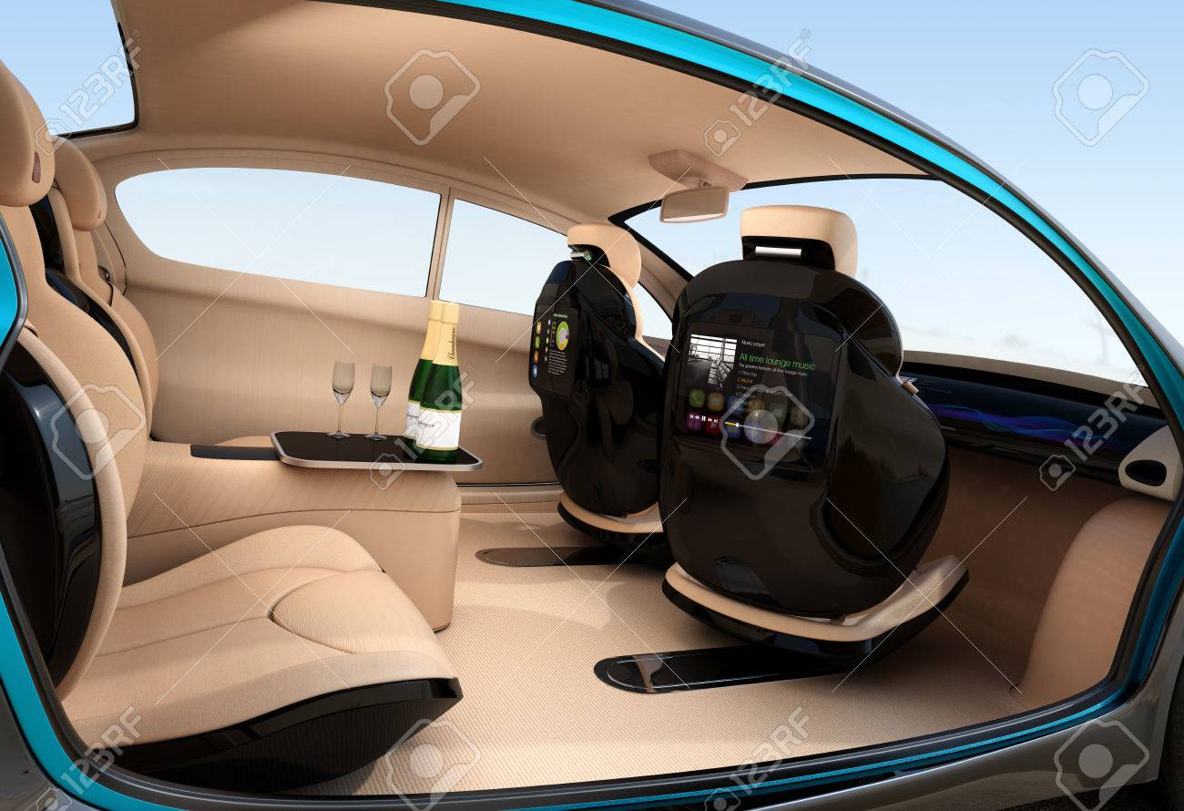 Autonomous Car Interior Concept Luxury Interior Serve Cool Drink Stock Photo Picture And Royalty Free Image Image 58816626