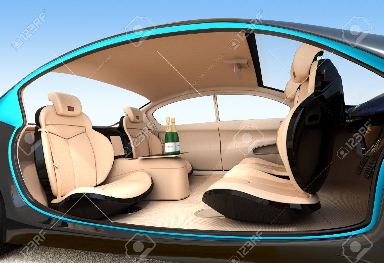 Car interior entertainment - Autonomous Car Interior Concept Luxury Interior Serve Cool Drink Service Seat Backrest Equip With