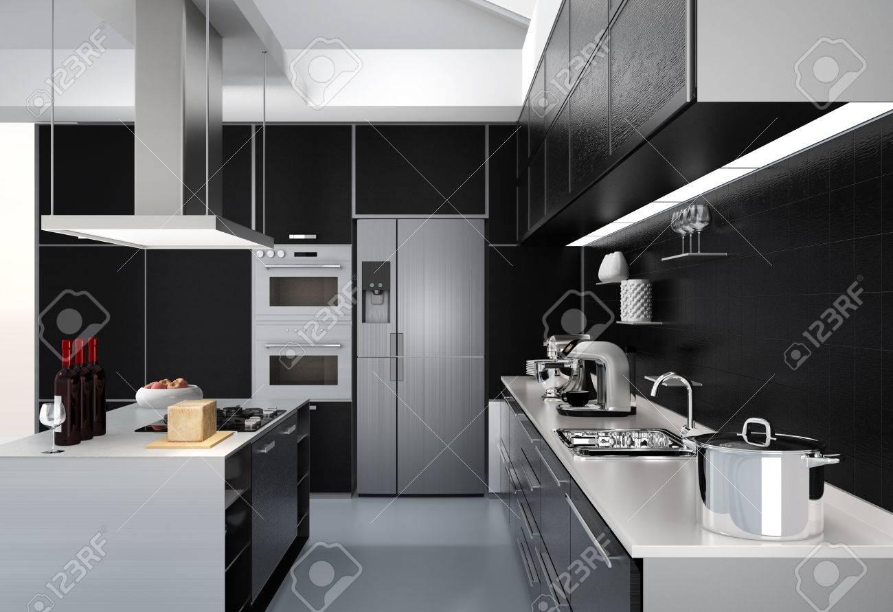 Moderne Küche Inter Mit Intelligenten Geräten In Schwarzer Farbe ...