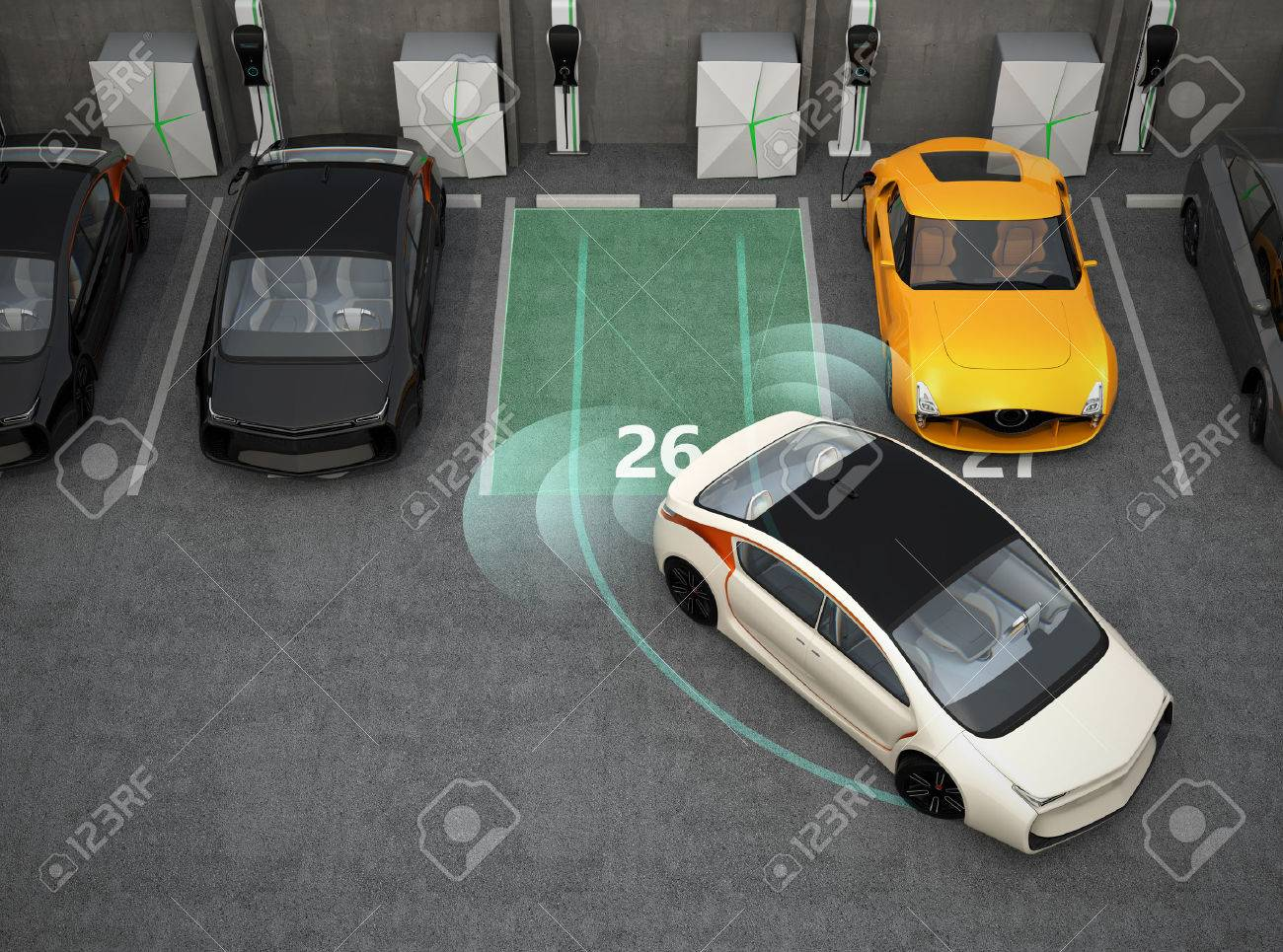White electric car driving into parking lot with parking assist system. 3D rendering image. - 58897786