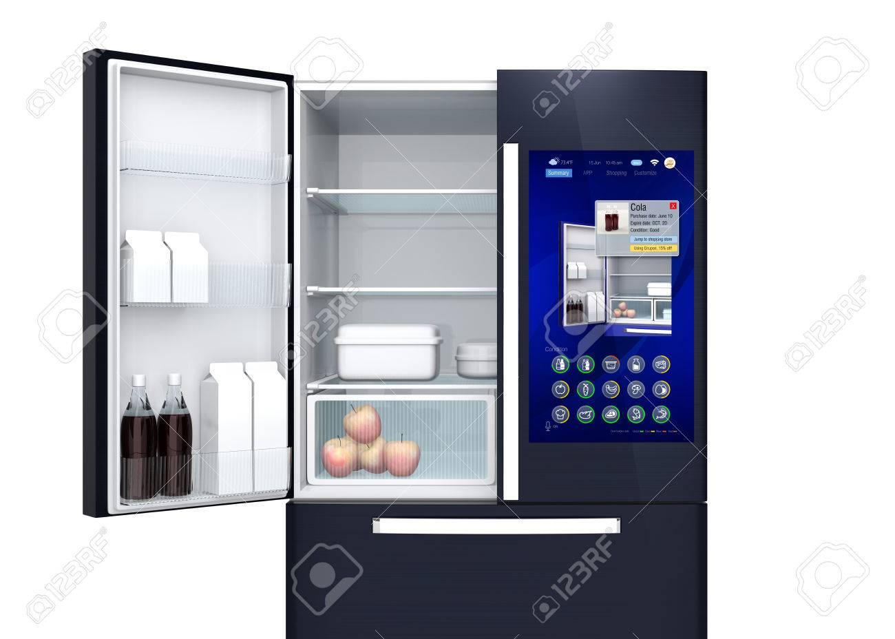 Kühlschrank Neu : Frontansicht des intelligenten kühlschrank der benutzer kann