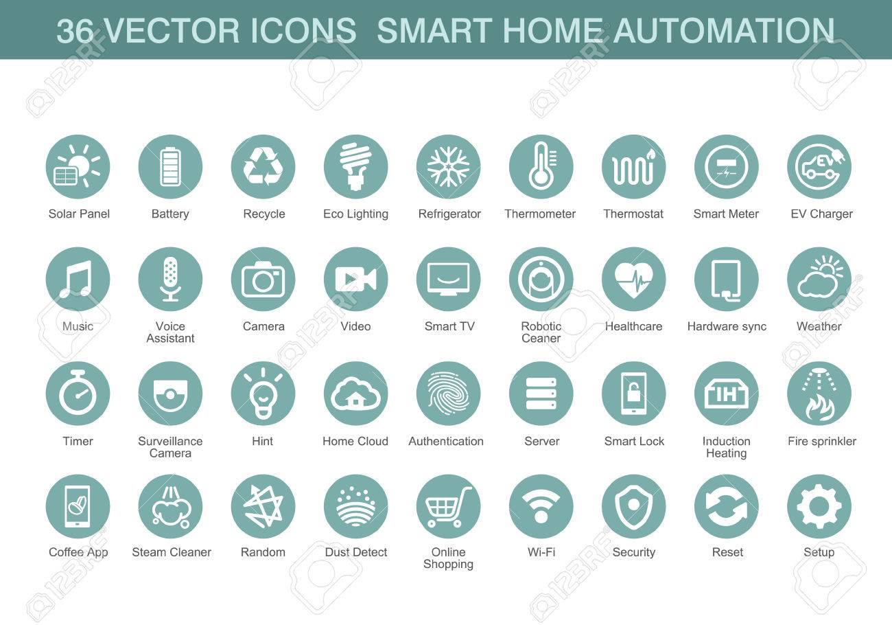 Vector icons for smart home automation. - 58898078