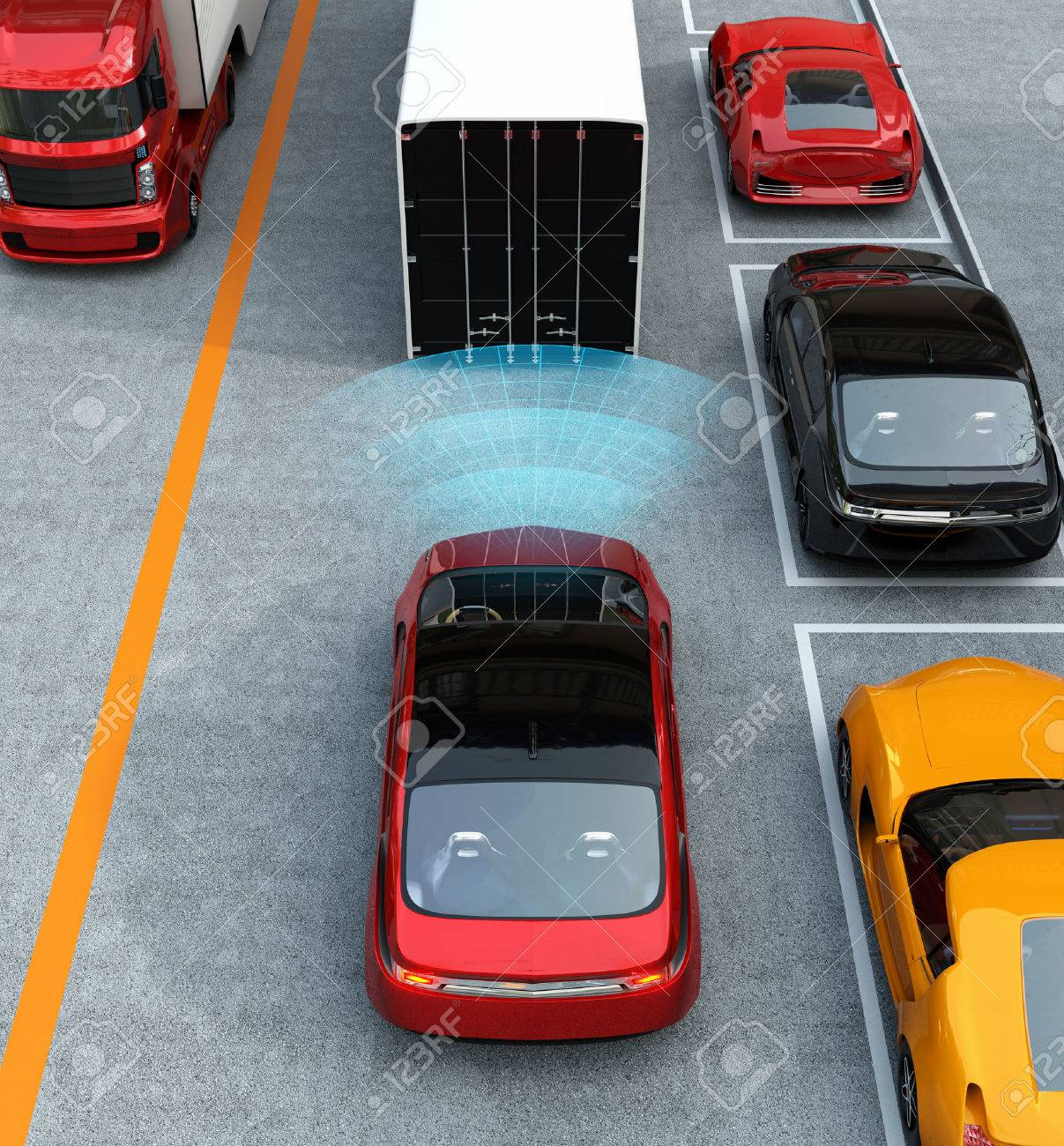 Automatic braking system concept. 3D rendering image. - 60365724