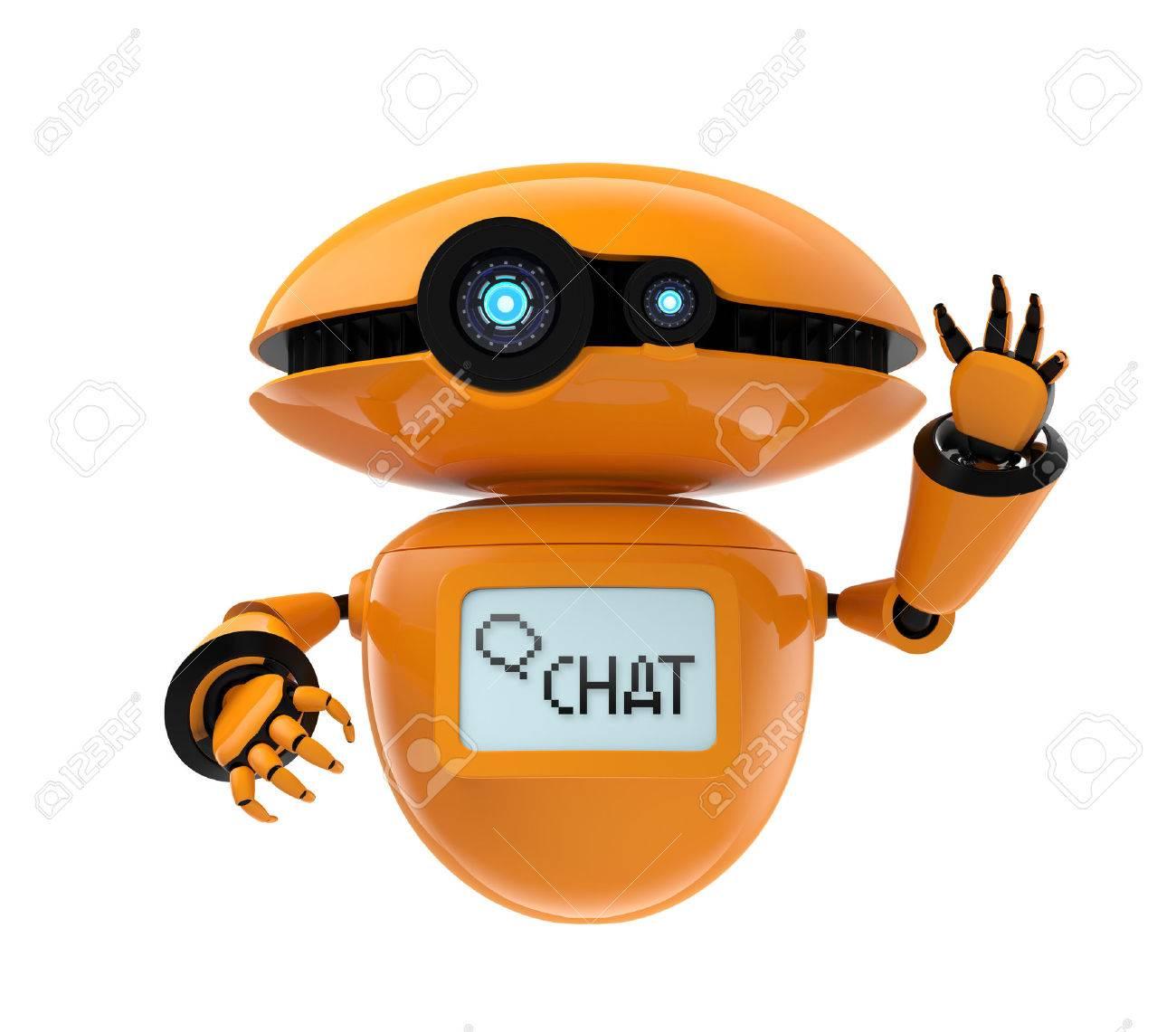 Orange robot isolated on white background. 3D rendering image - 62495773