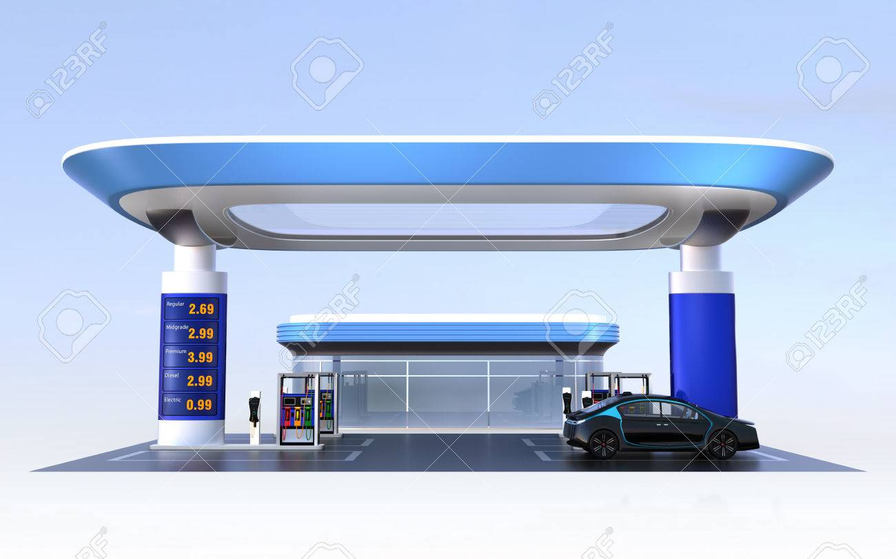 Contemporary EV charging station and gas station design for new energy supply concpet. 3D rendering image. - 65863924