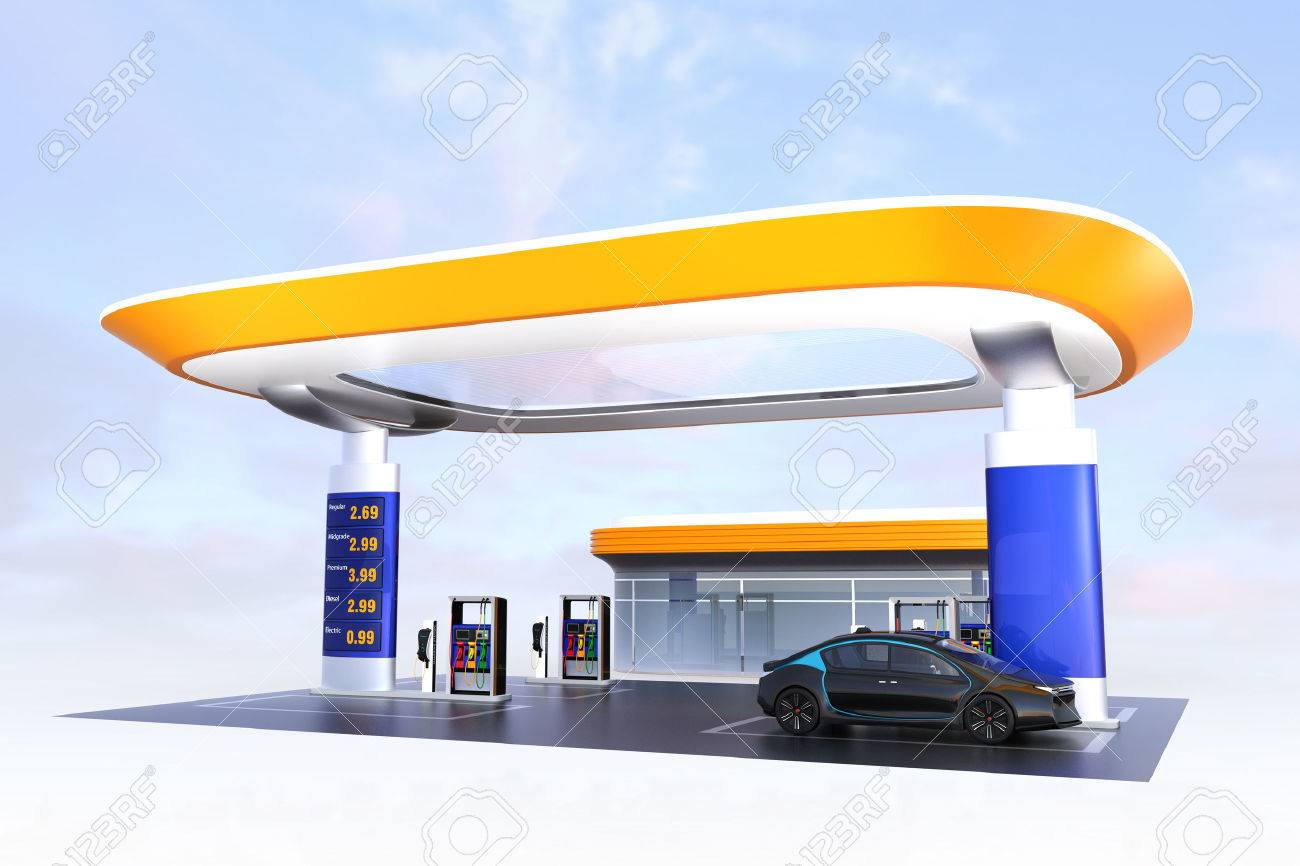 Contemporary EV charging station and gas station design for new energy supply concpet. 3D rendering image. - 65844838