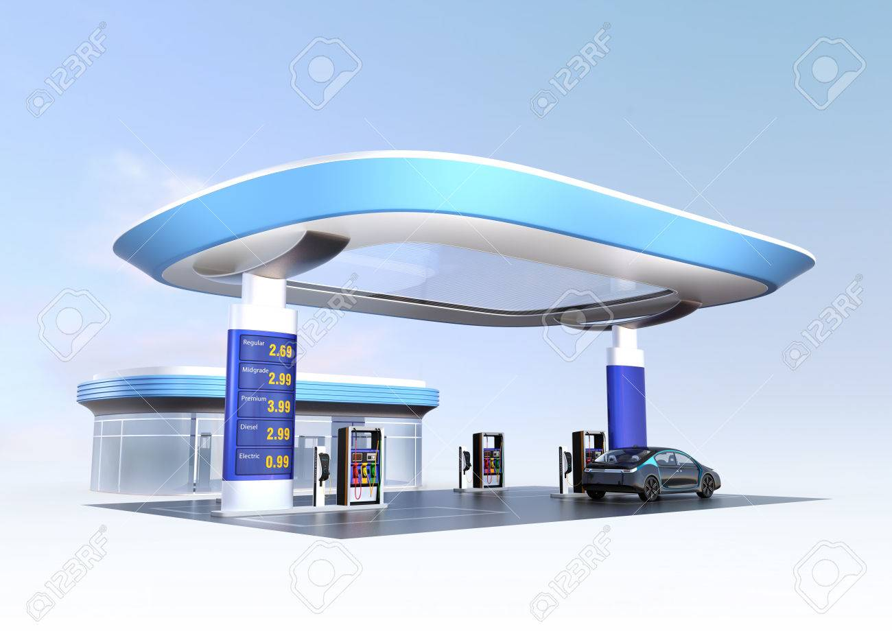 Contemporary EV charging station and gas station design for new energy supply concpet. 3D rendering image. - 65714900
