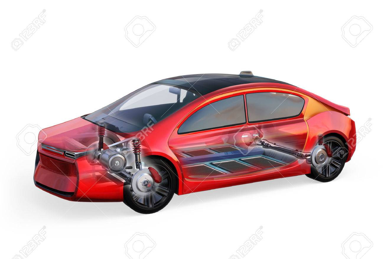 Electric vehicle body and frame isolated on white background. 3D rendering image. - 69632569