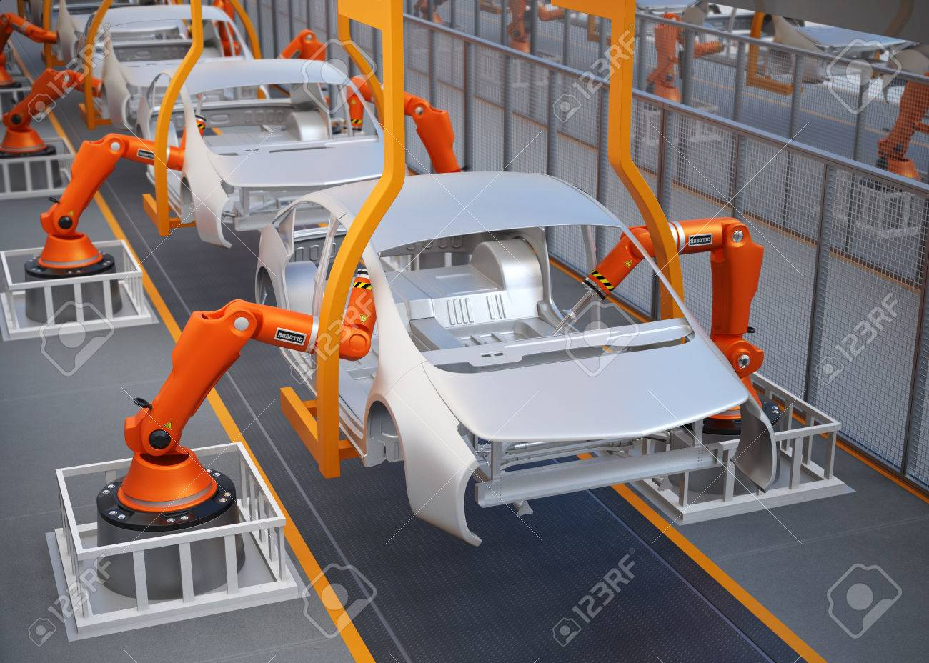 Electric vehicles body assembly line. 3D rendering image. - 65863926