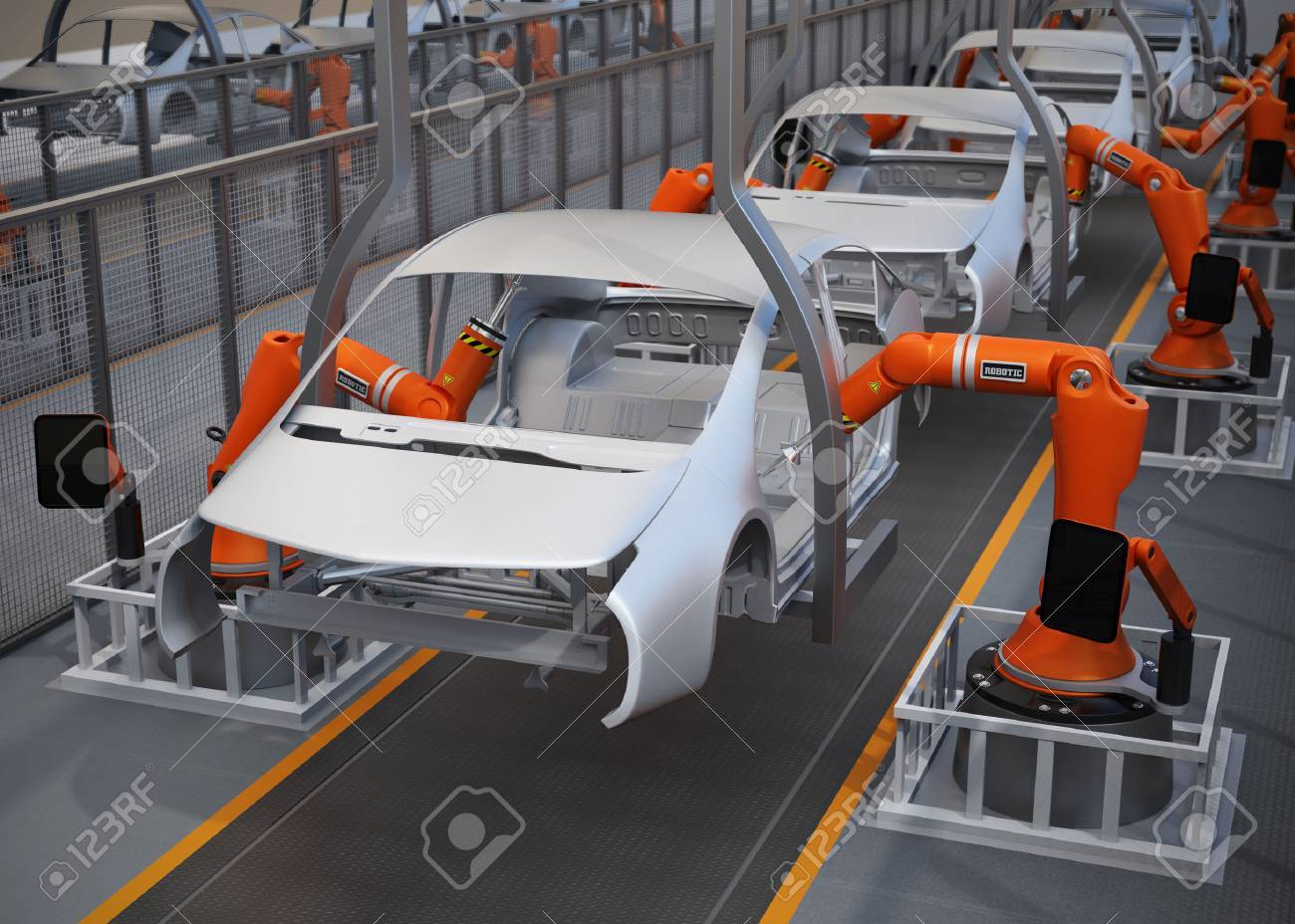 Electric vehicles body assembly line. 3D rendering image. - 65714907