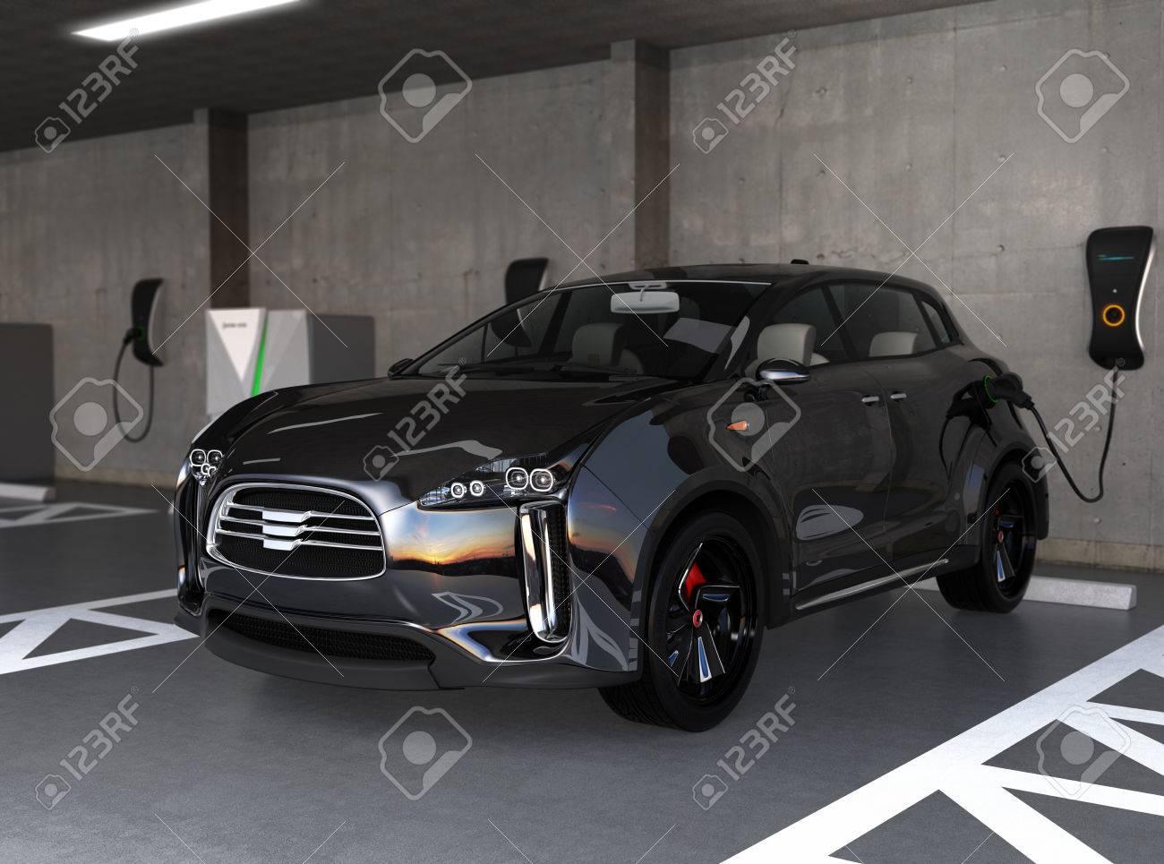Black electric SUV recharging in parking garage. 3D rendering image. original design. - 65788206
