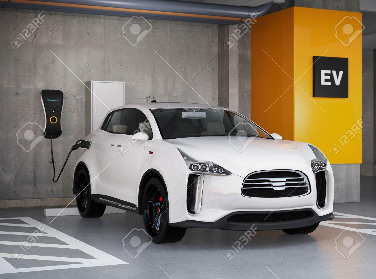 White electric SUV recharging in parking garage. 3D rendering image. original design. - 65788208