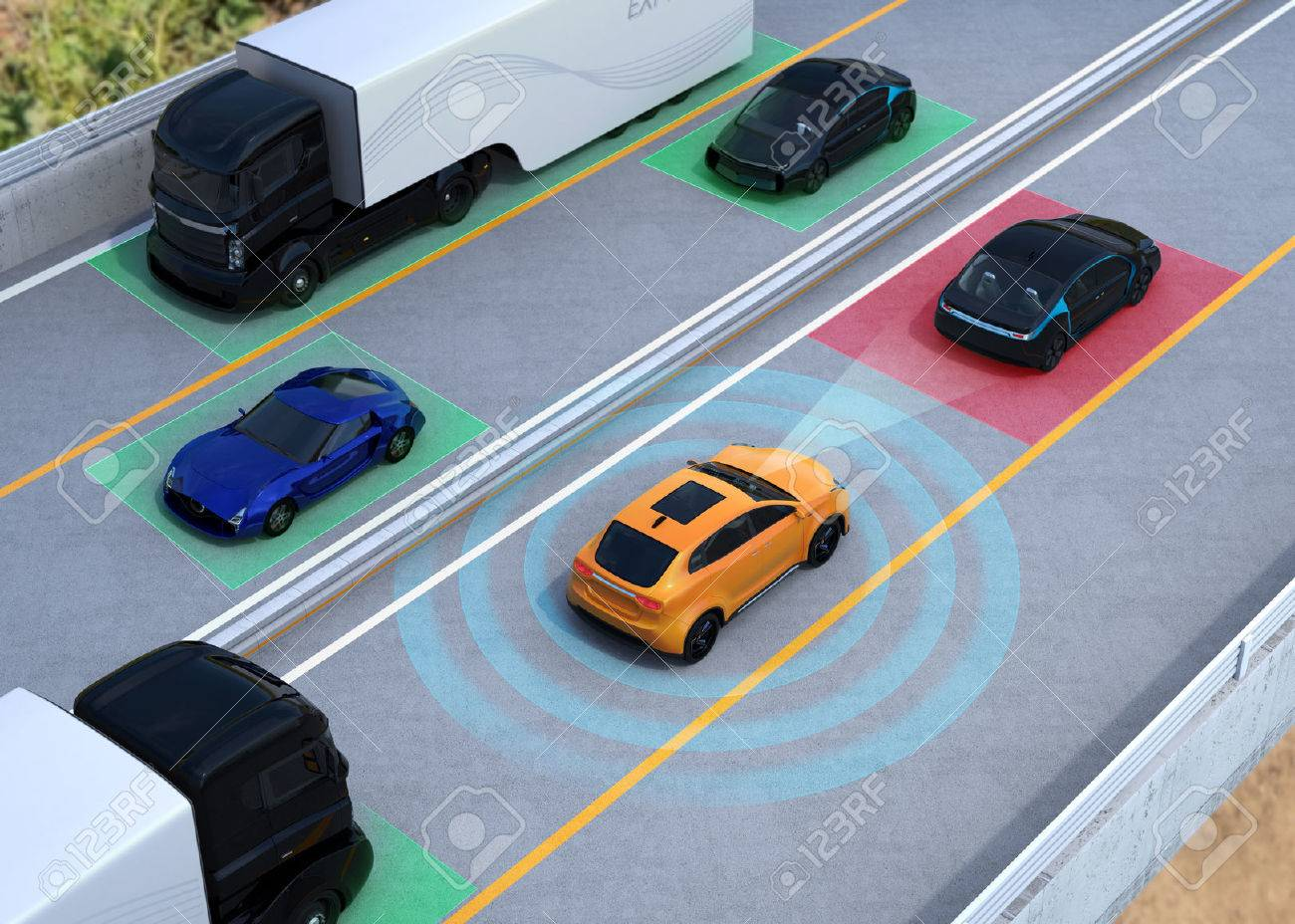 Concept illustration for auto braking, lane keeping functions. 3D rendering image. - 67064379