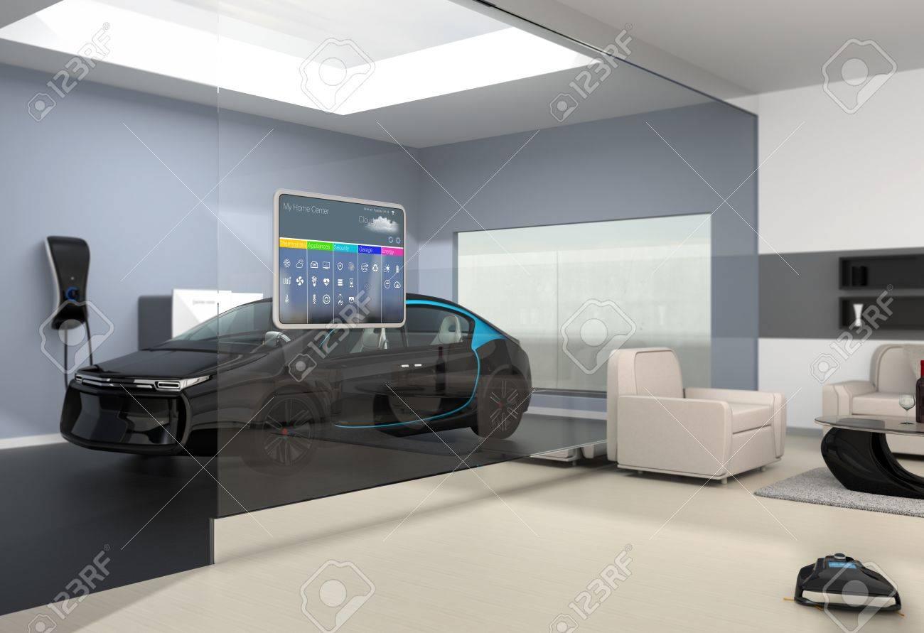 Entzuckend Hausautomation Bedienfeld An Der Glaswand. Von Der Glaswand Des Wohnzimmer  Könnte Schwarz Elektro Auto