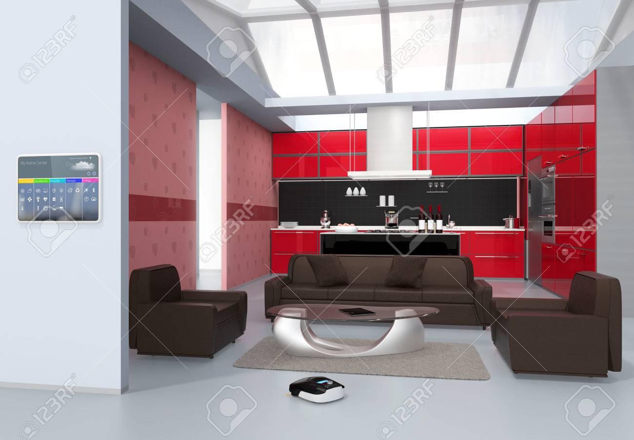 Hausautomation Bedienfeld An Der Kuchenwand 3d Rendering Bild