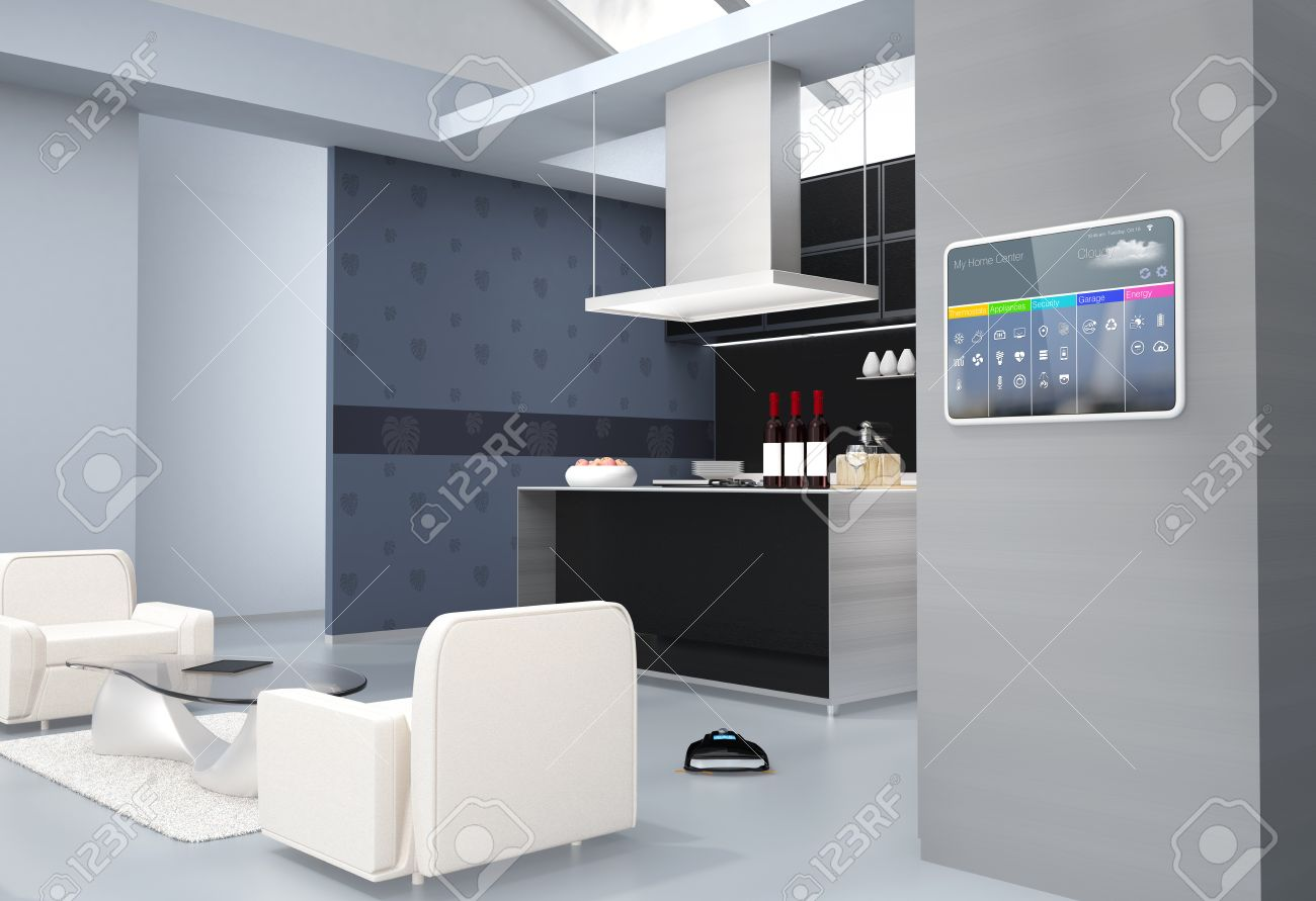 Home automation control panel on the kitchen wall. 3D rendering image. - 66091786