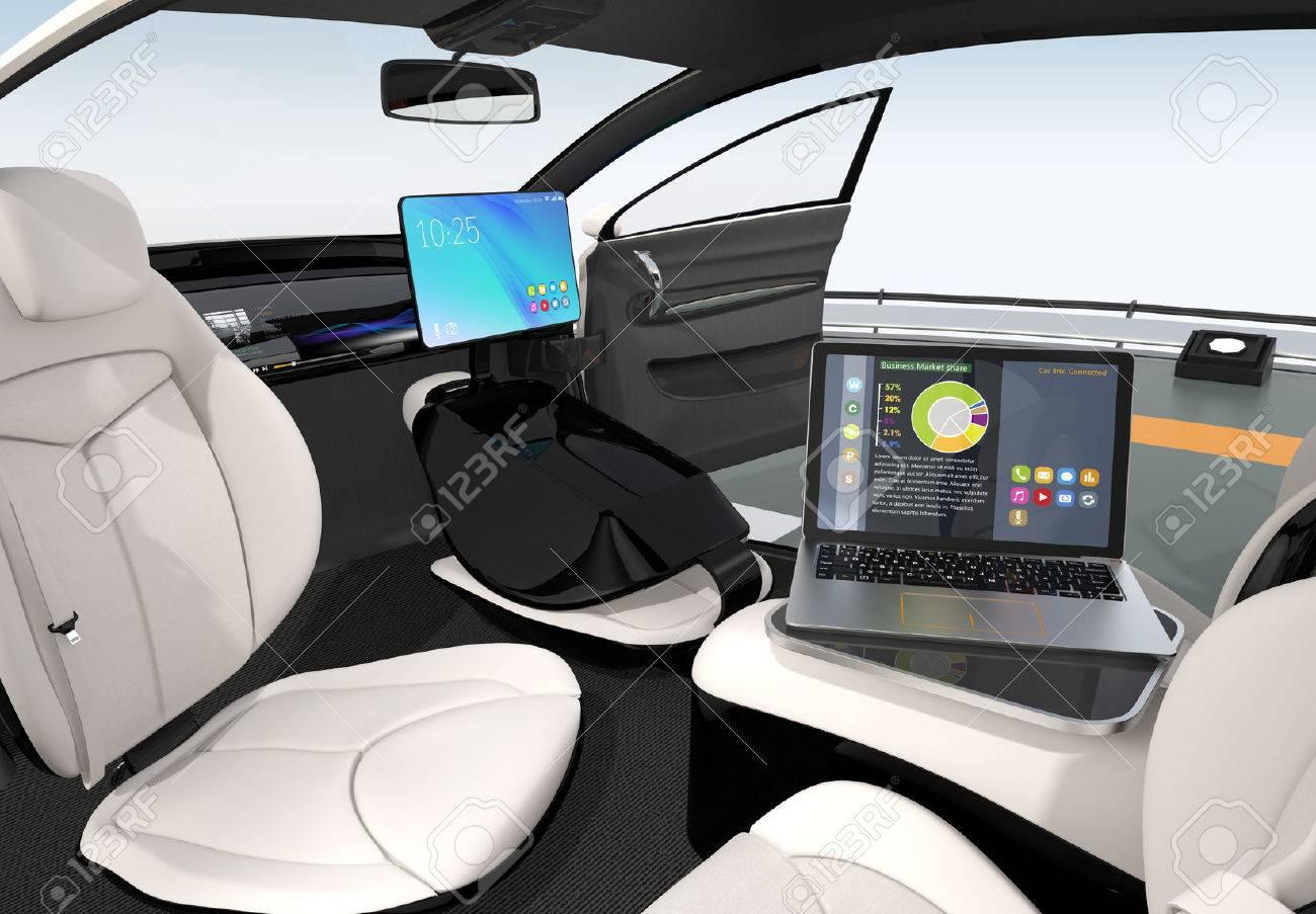 Autonomous Car Interior Design Concept For New Business Work