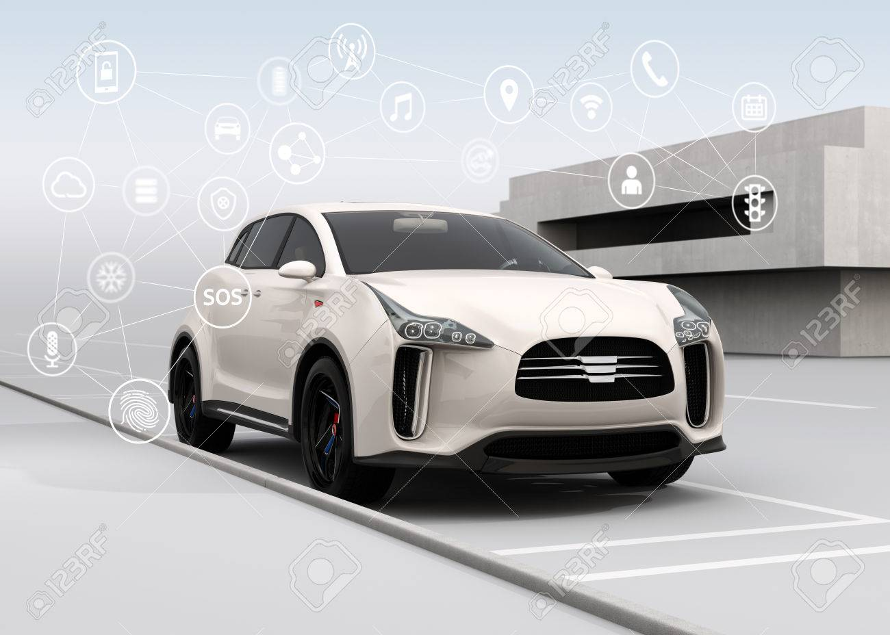 Connected cars and autonomous cars concept. 3D rendering image. - 66082928