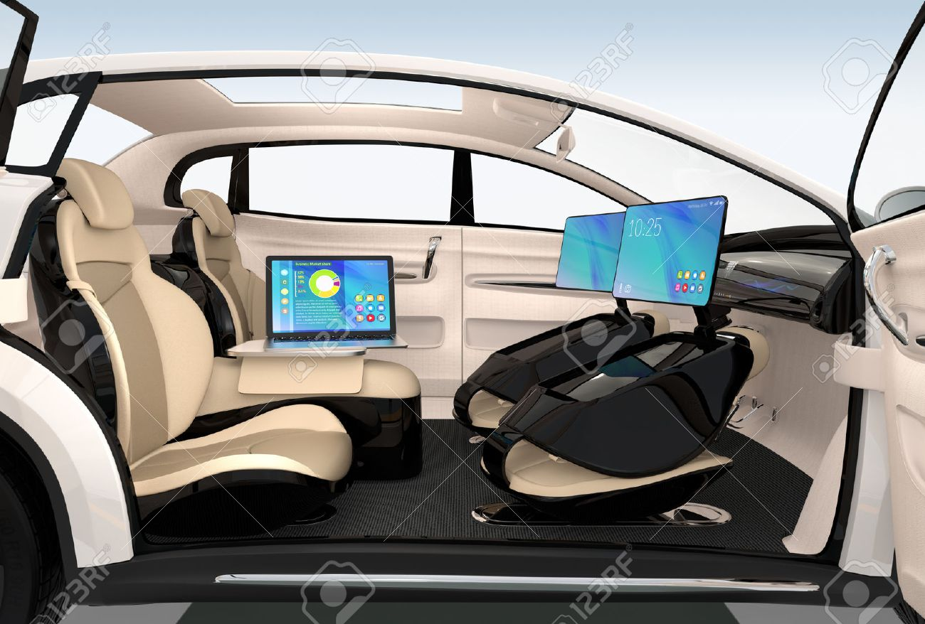 Autonomous car interior design. Concept for new business work style when moving on the road. 3D rendering image. - 65999650
