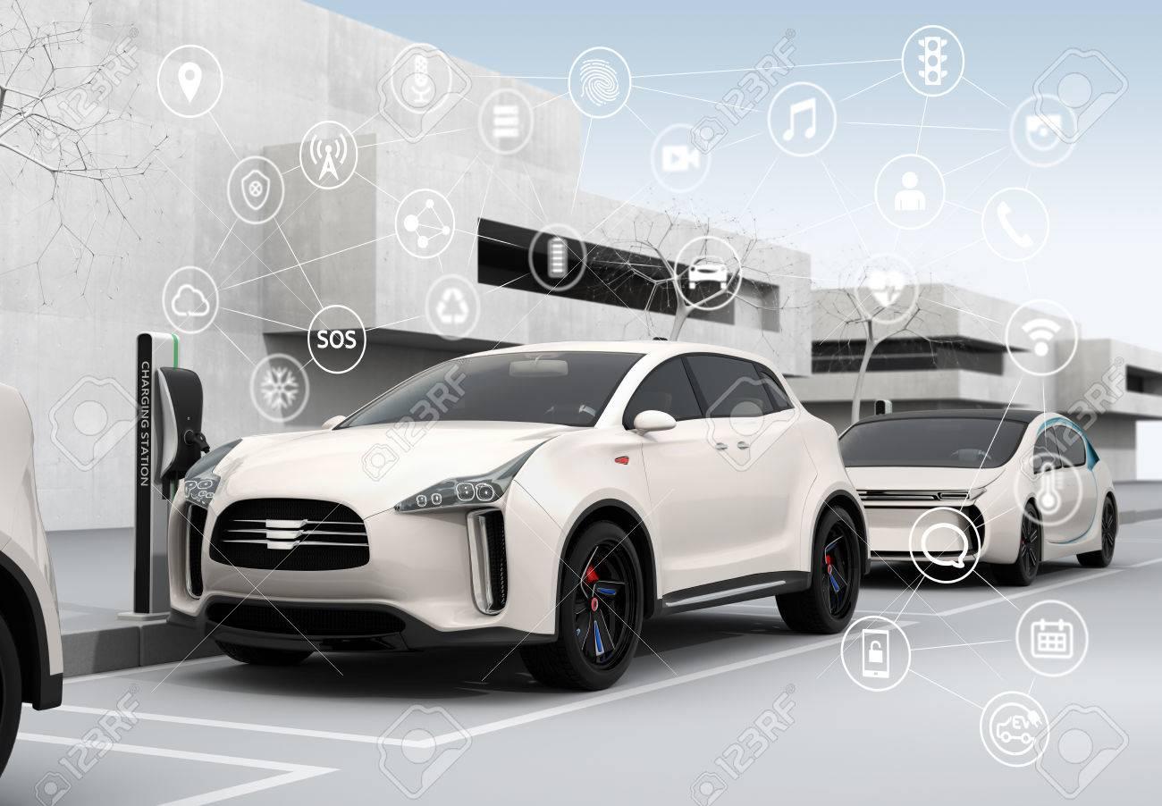 Connected cars and autonomous cars concept. 3D rendering image. - 66082939