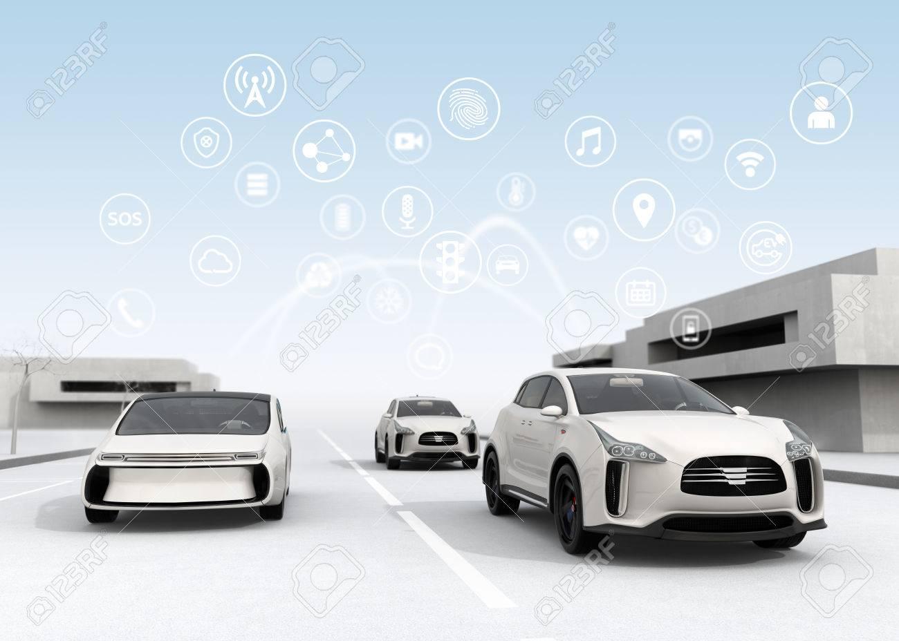 Connected cars and autonomous cars concept. 3D rendering image. - 66154672