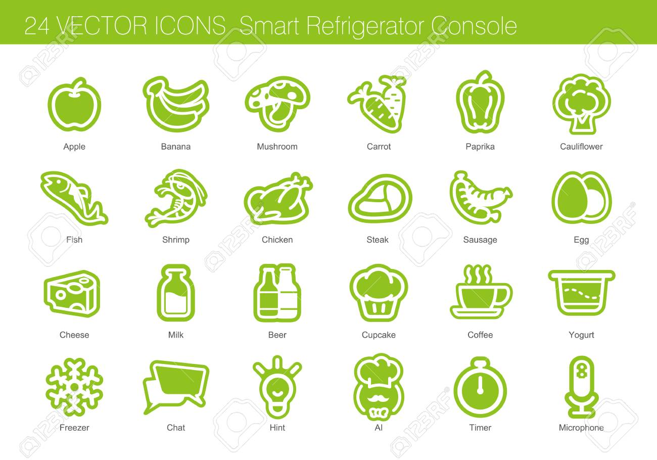 Icon set of food, drink and smart refrigerator - 67697903