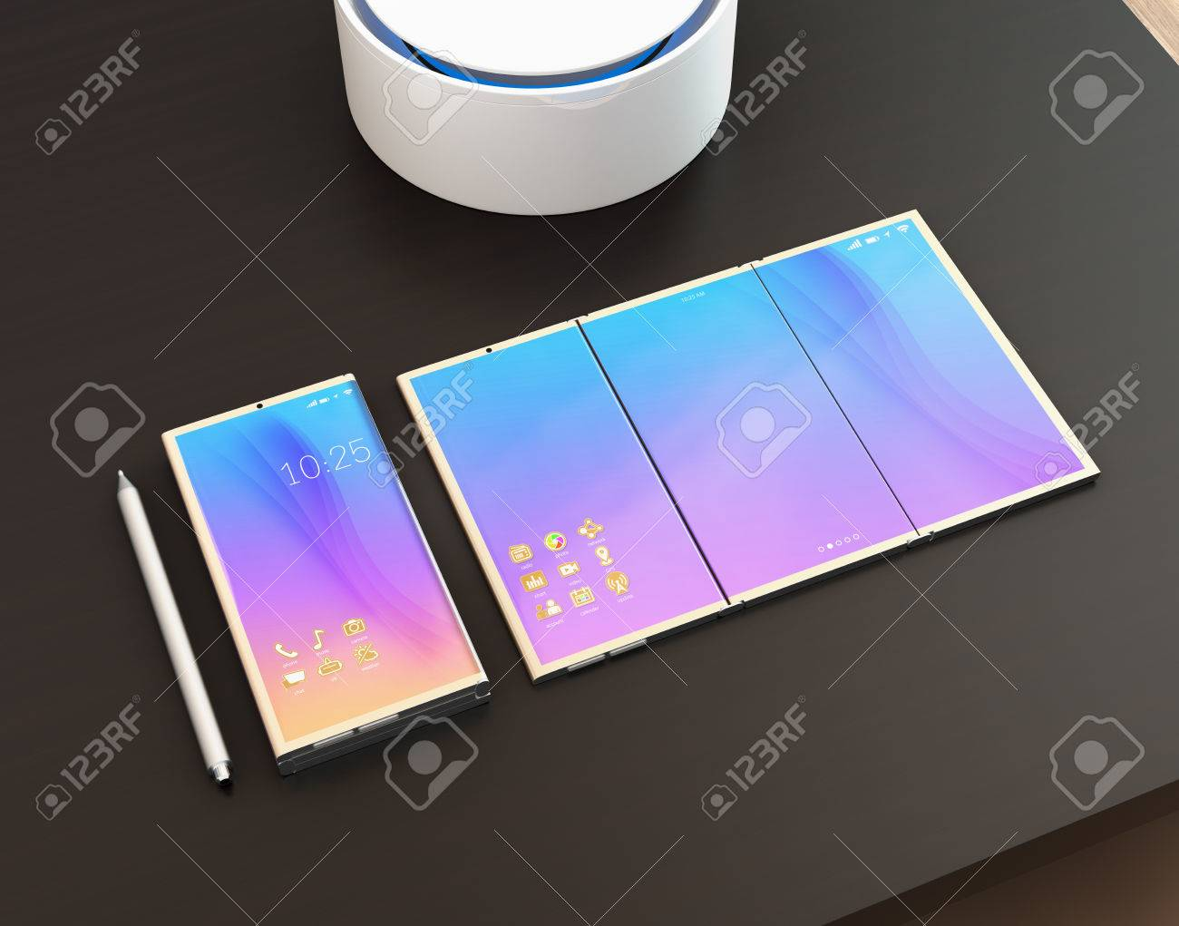 Foldable smart phone, phone that unfolded as tablet PC, digital
